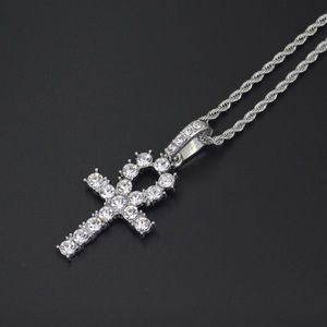 Silver Iced Out Cross Pendent with Chain